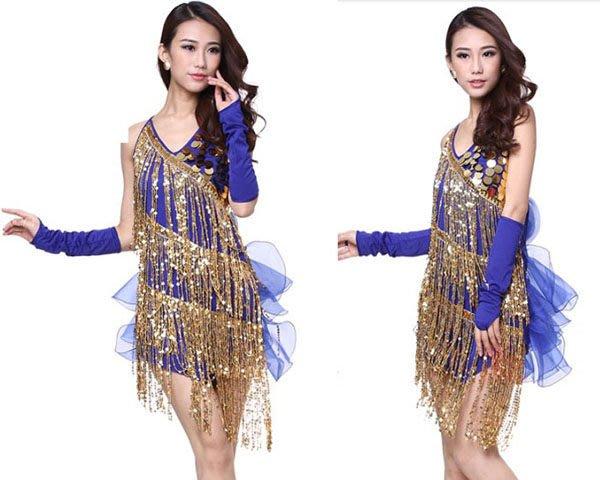 5Cgo【鴿樓】會員有優惠 38439577976 女士拉丁服表演服演出服 流蘇式亮片款拉丁舞連衣裙舞蹈裙