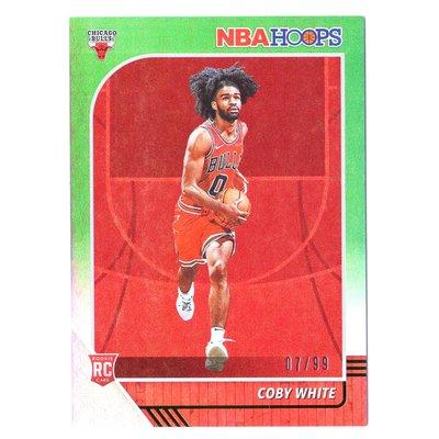 限量99張!公牛未來 Coby White 正規漲值保證NBA Hoops Green Rookie系列綠亮新人RC限量卡 2019-20