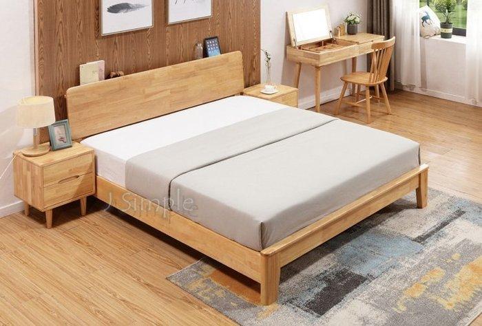 【J.Simple 工業風 北歐】簡約實木床架/日式全實木現代簡約LOFT工業風床架/鐵藝床架/5尺6尺雙人床/床架雙人