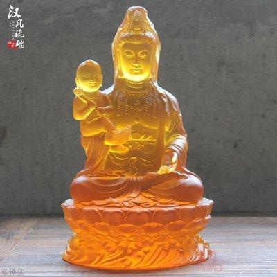 10寸琉璃觀音佛像供奉擺件客廳寺院佛教用品琉璃送子觀音求子佛像 B19298