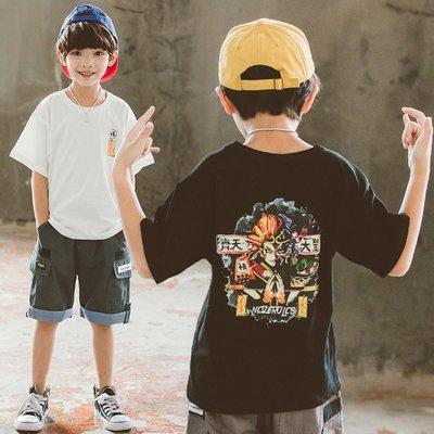 hello小店-男童寬松短袖t恤夏天潮童裝中大童黑色兒童白色嘻哈純棉中袖上衣#兒童上衣#襯衫#短袖t恤#
