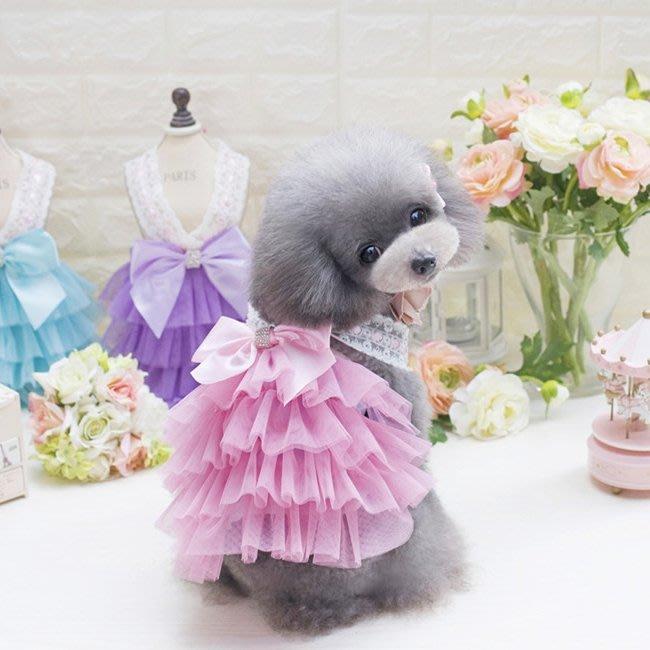 寵物狗服裝衣服公主裙子泰迪比熊吉娃娃韓版吊帶層次裙Y-優思思