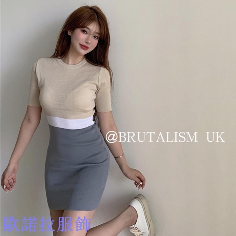 【新款】拼接撞色假兩件針織連衣裙女修身性感氣質包臀裙夏季裙子