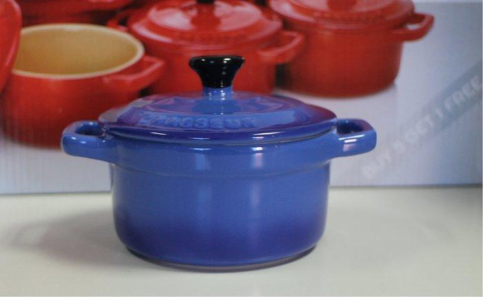 【小麥的店】現貨*法國 Chasseur迷你陶瓷圓烤盅 // 法國藍漸層