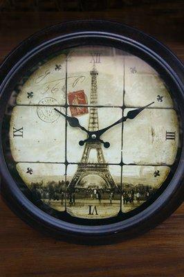 鐵塔時鐘--復古郵戳巴黎鐵塔壁鐘圓形鐵製黑框壁鐘--秘密花園
