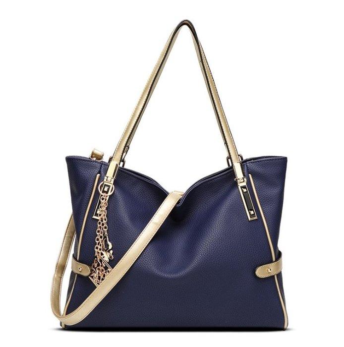 新款女包掛飾撞色歐美時尚單肩包大包女士手提斜挎大容量包包