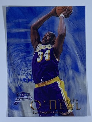 1998-99 Fleer Brilliants Blue #100 Shaquille O`Neal 正面右上表面傷痕