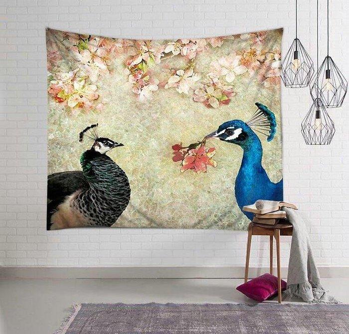 BELOCO 背景布 掛毯 掛布 墻壁掛飾 居家裝飾 北歐INS掛布鮮花藍孔雀情侶墻面背景裝飾畫布掛毯藝術沙灘巾桌布BE655