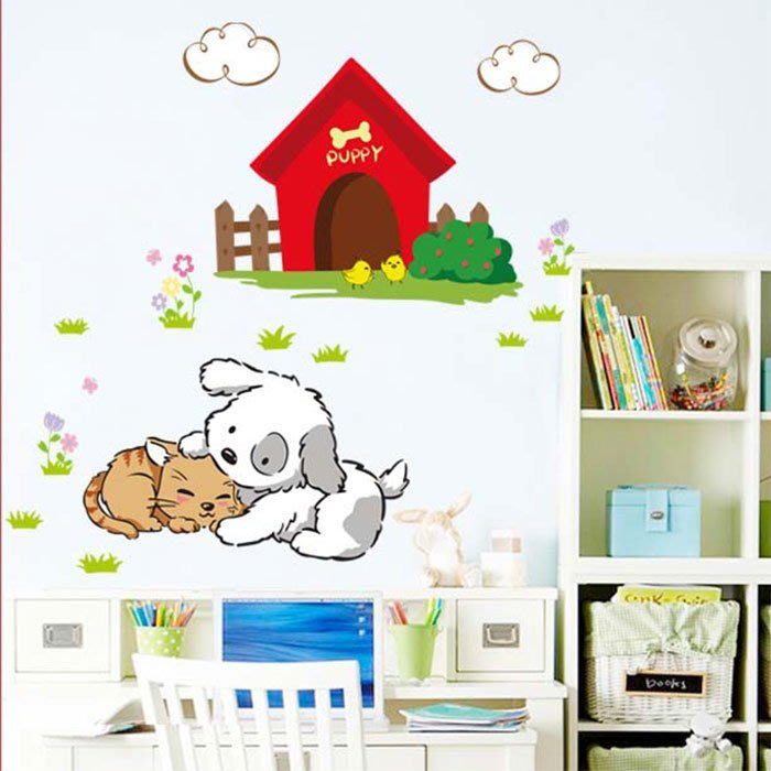 壁貼工場-三代大號壁貼 壁貼 貼紙 貓狗屋 AM7071