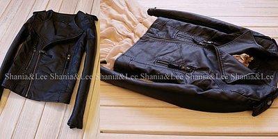 ☆/Shania&Lee/ ☆7125外貿品 斜拉鍊3代 翻領水洗皮騎士風皮衣外套夾克黑色 有大尺碼喔 實拍
