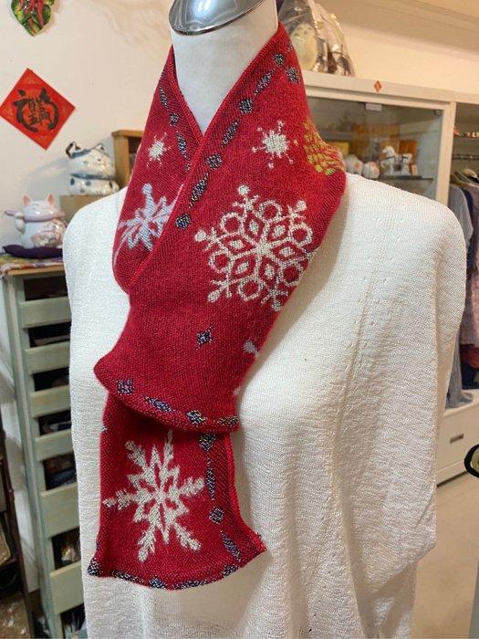 美家園日本生活館 日本帶回法國製 短圍巾 圍脖 紅色雪花款