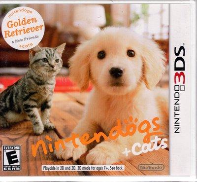 3DS美規專用遊戲 任天狗 + 貓與黃金獵犬 Nintendogs + cats 美版【板橋魔力】