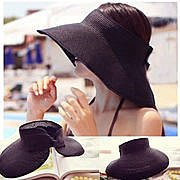 韓國空頂帽 韓版潮帽 女士攜帶型摺疊防曬大帽沿草編帽 韓國新款遮陽帽 多色