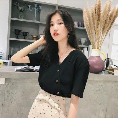 雪紡短袖女2019夏季新款韓版顯瘦洋氣小衫寬鬆氣質V領很仙的上衣-蛋蛋年代