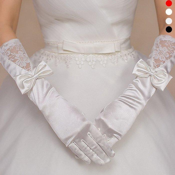 MIX style SHOP【S-455】婚紗新娘女套❤黑色蝴蝶結蕾絲緞面拼接手套~(4色)