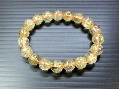 □§Disk的天然水晶§□【招財磁場】AA級巴西金髮晶圓珠手鍊(10mm)FO04