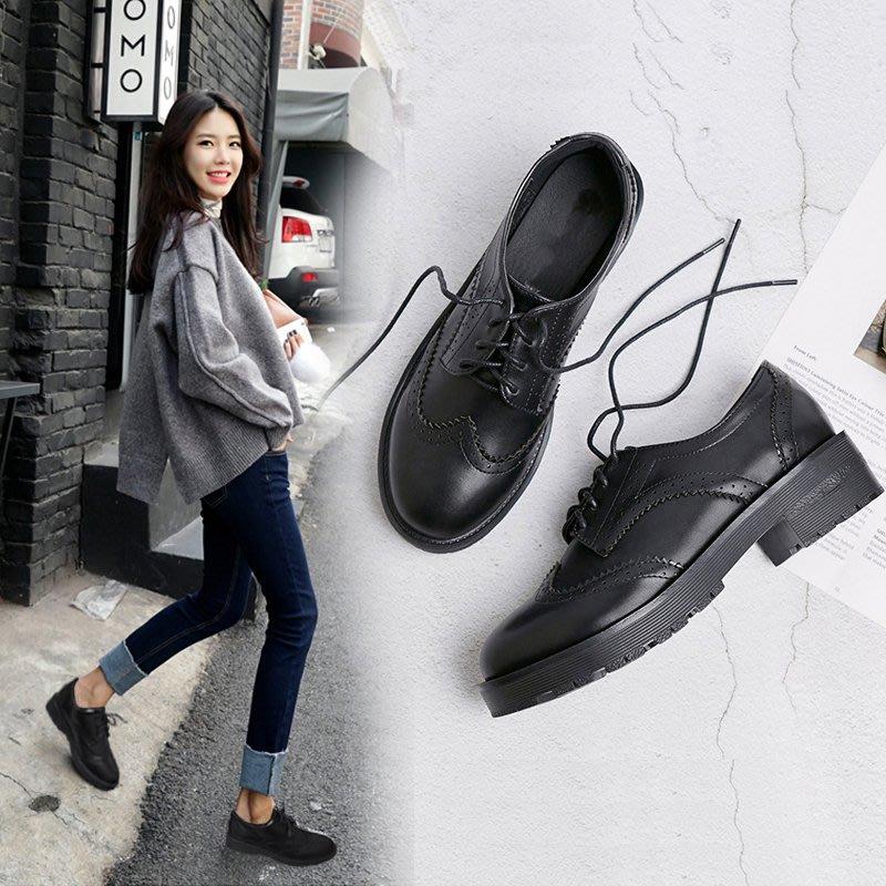 =WHITY=韓國GRAMMI品牌 韓國製 顯瘦大牌舒適百搭時尚新款軟皮英倫牛津鞋中跟軟皮軟底S9HB617