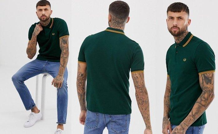 ◎美國代買◎ASOS代買Fred Perry 黃線條裝飾領口與袖口的深綠經典款logo poly衫~英倫潮牌街風~大尺碼