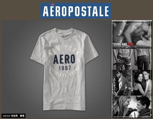 有型男~ Aeropostale Logo GraphicT Style# 4131 灰色 A&F Hollister