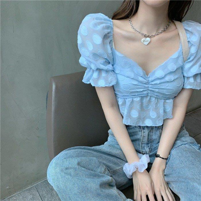 小香風 短袖T恤 時尚穿搭 韓版 泡泡袖漏鎖骨花瓣短款小心機襯衫洋氣女神上衣