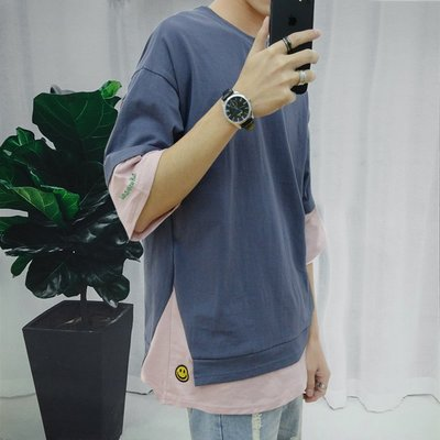 Chita Man + 假兩件式 休閒百搭 刺繡LOGO上衣 五色 兩入1000