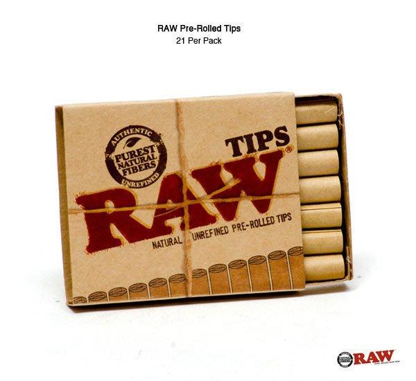 GOODFORIT /  西班牙RAW® Pre-Rolled Tips預捲紙濾嘴(21入)/非氯漂白天然製程/超薄緩燒/weed joint