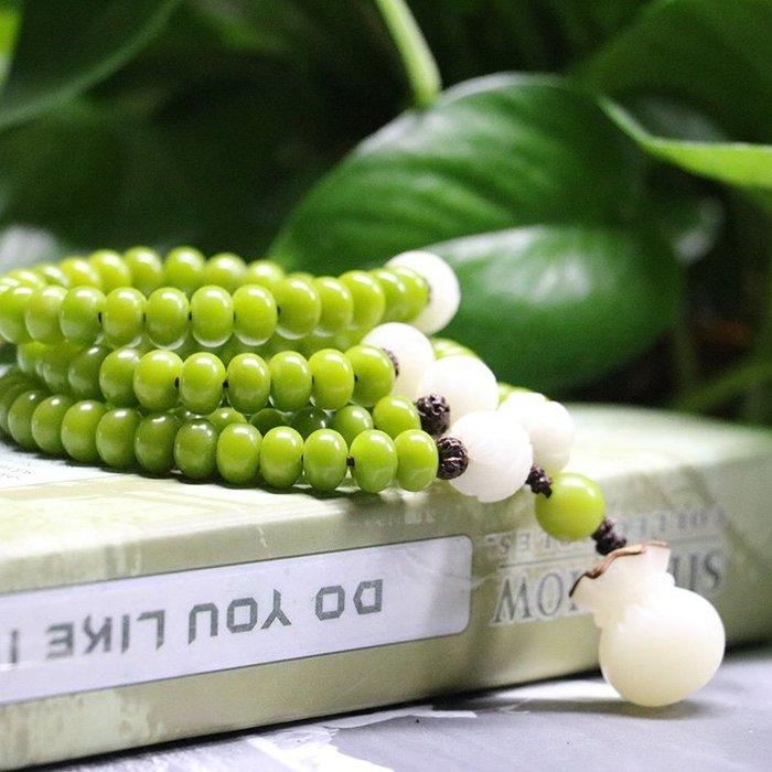 佛珠 天然草木綠菩提根108顆手串女招財文藝項鏈 念珠