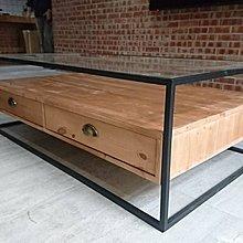 佳源木材 工業風 玻璃茶几小桌展示桌客製工廠直營強化玻璃鐵件鐵管工業風抽屜木製實木原木傢俱客廳