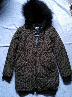 SLY綠豹紋軍用大衣有澎澎真毛超保暖少見款