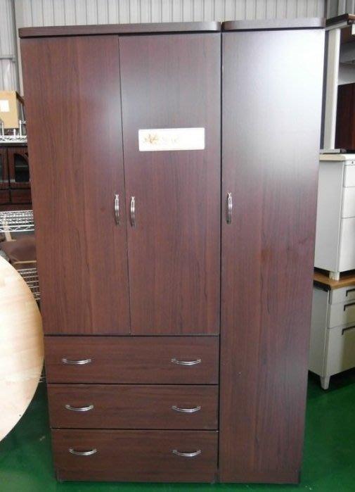 【弘旺二手傢俱】全新/庫存 傑尼斯胡桃木色衣櫃4尺 收納櫃.書櫃 床頭櫃 置物櫃 斗櫃-各式新舊/二手家具 生活家電買賣