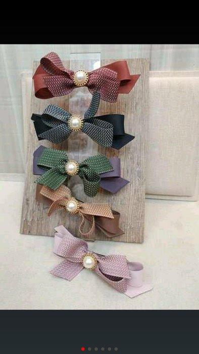 正韓東大門預購款秋天來了雙色甜心蝴蝶結大珠珠 髮夾