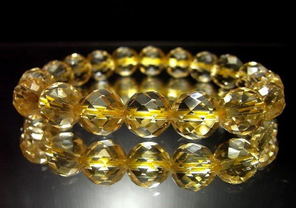 小風鈴~天然頂級寶石級清料10mm鑽切面黃水晶手鍊~重22.7g (主偏財運)