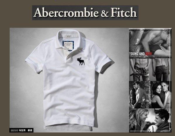 有型男~ A&F Abercrombie&Fitch 旗艦店大麋鹿刺繡 polo Blake Peak 白 M~XXL