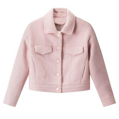 毛呢 外套 短版大衣-粉色氣質翻領單排扣女外套73ui1[獨家進口][米蘭精品]