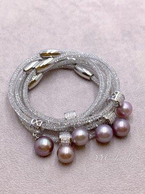 【YYC Jewelry】淡水珍珠 極光 圓珠 手鏈 水晶手鏈 #P27 紫粉色(隨機發貨)