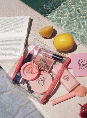 韓國免稅店購入🎀  3CE  透明防水梯形化妝包 黑|粉色