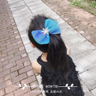 【蘑菇小隊】純手工韓國女童寶寶冰雪奇緣漸變網紗蝴蝶結髮夾雪花聖誕髮夾-MG18336