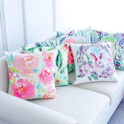 熱賣-清新花卉田園抱枕靠墊套床頭沙發超...