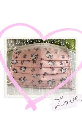 台灣現貨 特殊收藏親子平面口罩 粉橘KT (兒童款8片裝  成人款5片裝 內含4片粉橘KT  1片隨機贈送不挑款)
