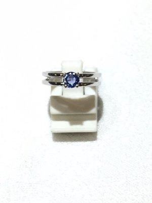 【凱兒寶石】 天然斯里蘭卡藍寶純銀戒指 切割 剛玉