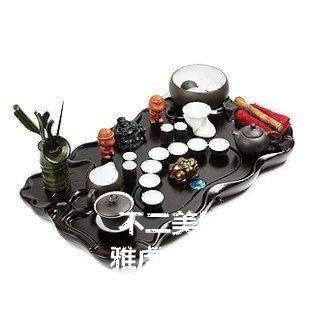 【格倫雅】^宜興紫砂茶具套裝 黑雙蓮實木茶盤 功夫茶具29393[g-l-y77