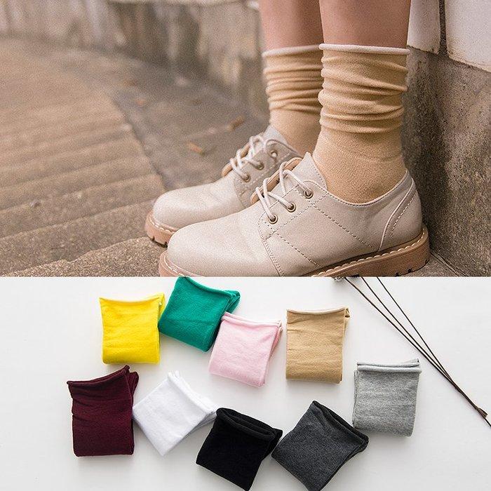 襪子短襪中筒襪中統透氣舒適高中襪學生襪 襪男女 襪子日系純棉襪子女士學生堆堆襪復古糖果色原宿中筒襪松口卷邊潮wazi