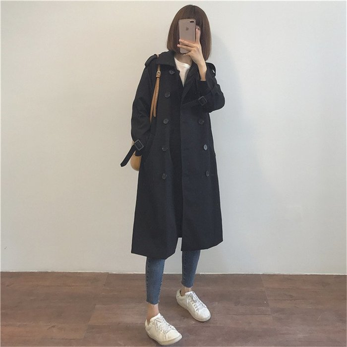 Modem Girl♥100%實拍 正韓 極簡好板型 復古英倫風排扣風衣 S/M/L/XL