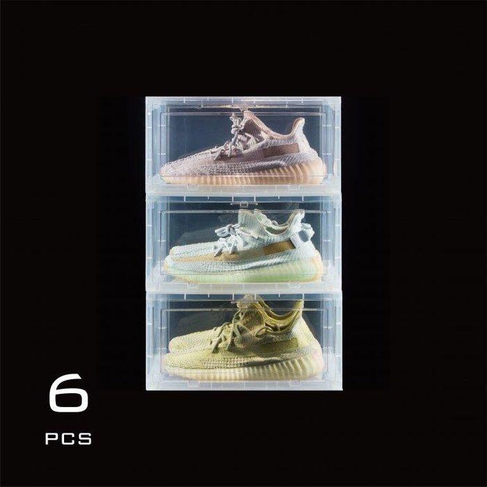 玉米潮流本舖 Sneaker Mob 透明 側開球鞋收納展示盒 6件組  白/黑