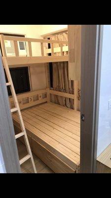 牛牛家具製造❤任何尺寸定制❤組合丁字床❤松木實木製造❤高架木床❤度尺定制