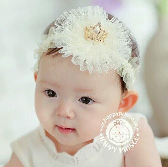 *ω*茱蒂*ω*  韓版新款 皇冠珍珠網紗 寶寶髮帶 嬰兒頭飾 幼兒頭帶 發箍 拍照必備 特價$199/1入  *現貨*