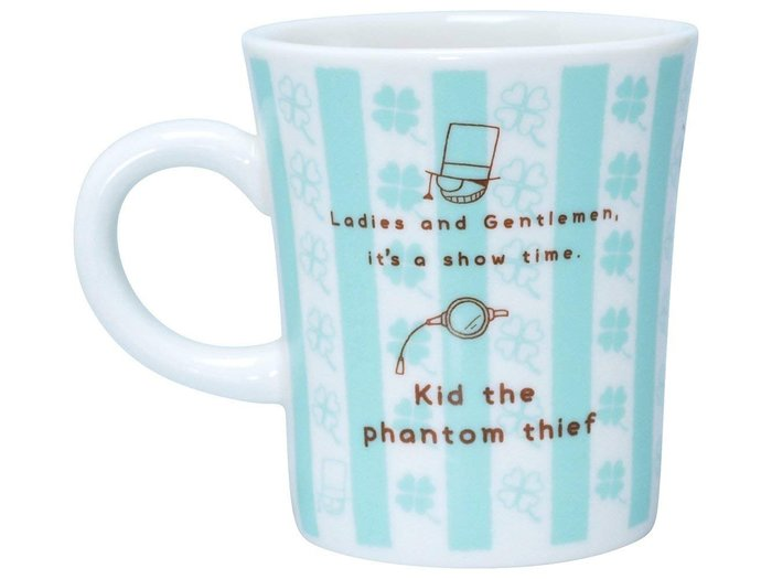 AQI BUY 名偵探柯南 怪盜基德 馬克杯 藍色格子 四葉草 咖啡杯 水杯 茶杯 270ml 日本正版