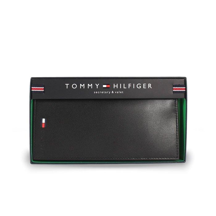 美國百分百【全新真品】Tommy Hilfiger 真皮 皮夾 卡片夾 TH 長夾 錢包 簡約 禮盒 男 黑色 G887