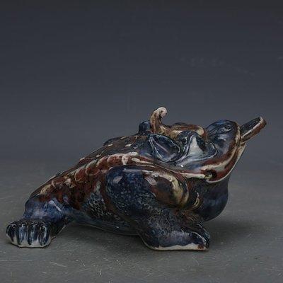 ㊣姥姥的寶藏㊣ 大明宣德青花釉里紅三足金蟾蟾蜍瓷像  出土古瓷瓷古玩收藏品