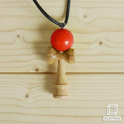 『Surpass』木質劍玉皮繩項鍊 紅色